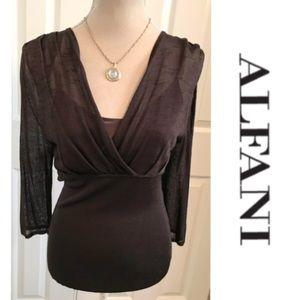 Alfani, Brown Sheer Knit, Built In Camisole Top